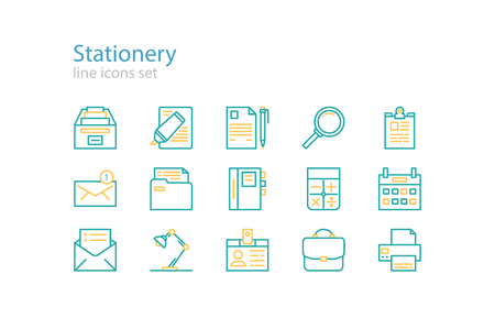 office stationery: Office stationery icons. Line art.