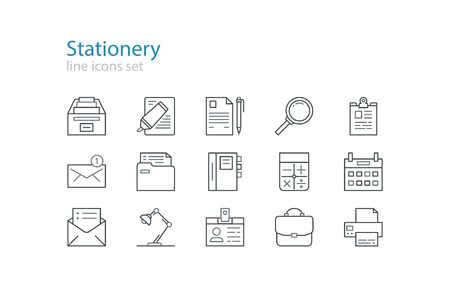office stationery: Office stationery  icons. Black and grey. Line art.