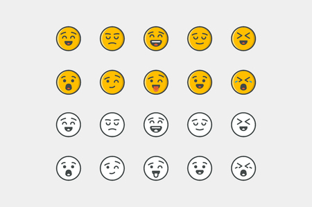angry smiley face: Smile icon set. Color and colorless. Line art.