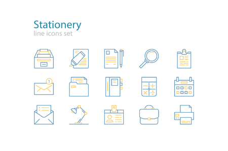 yellow line: Office stationery  icons. Blue and yellow. Line art.