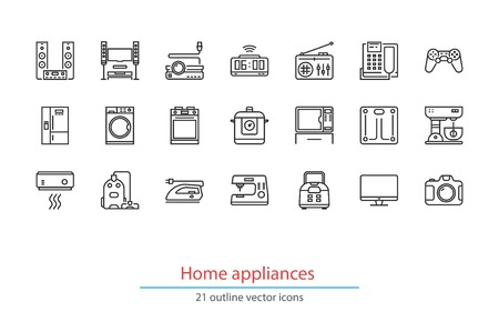 hi fi system: Set of outline home appliancess icons. On a white background. Illustration