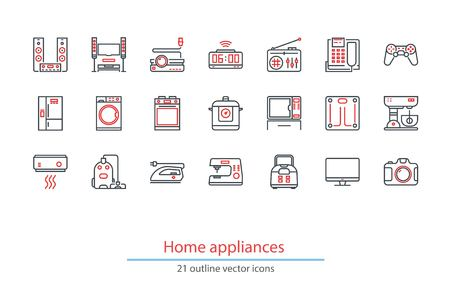 hi fi system: Set of outline home appliancess icons. Black and red colors. Illustration