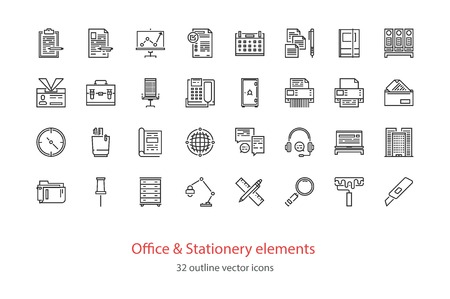 color swatch book: Set of Office and stationery elements outline icons. Illustration