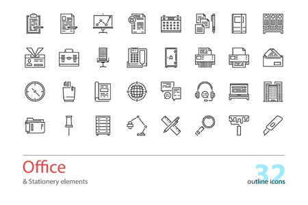 color swatch book: Set of outline Office and Stationery elements icons. Illustration