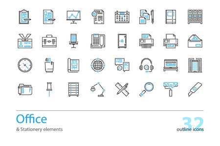 color swatch book: Set of outline Office and Stationery elements icons. Black and blue. Illustration