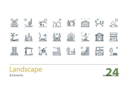architecture: Landscape, Architecture outline icons Illustration