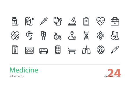 Medicine and Health. Outline icons set. Line art