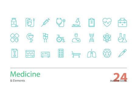 Colour Line Art Design : Medicine and health outline icons set line art royalty free