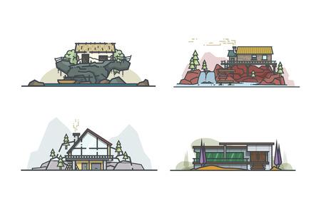litle: Litle Architecture. Set of outline illustrations. Illustration