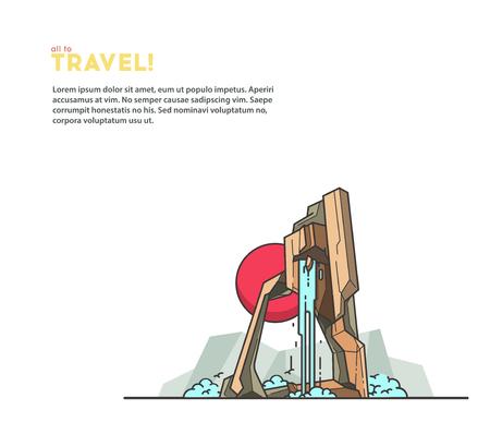 autumn scene: Travel illustrations. Mountains and waterfall. Illustration