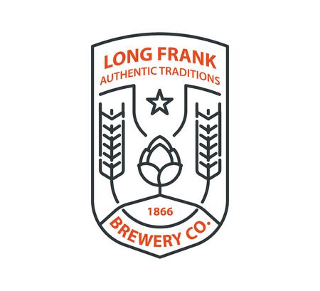 retro badge: Beer template. Hop and barley.  design element.