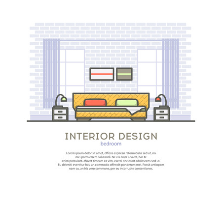 interior design bedroom: Interior design. Bedroom. Outline vector illustration on a white background.