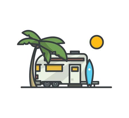 Surf camp. Trailer. Modern outline illustration.