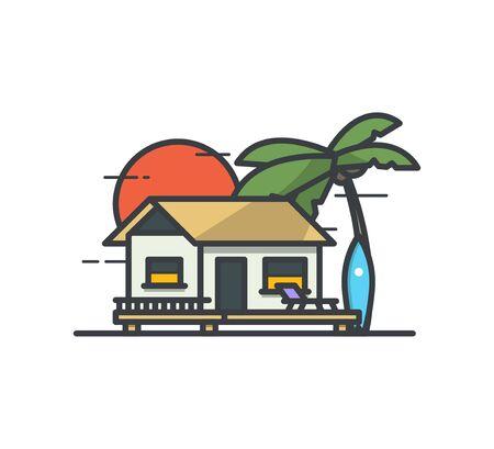 bungalow: Tropical surf Bungalow. Illustration