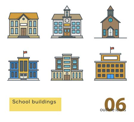 steeple: school building colorful icons