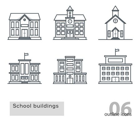 steeple: school building colorless icons