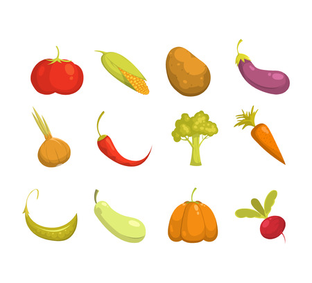 educative: Ecological farming production. Vegetables icons set.