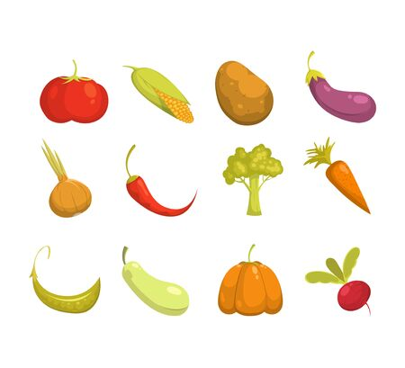 Ecological farming production. Vegetables icons set.