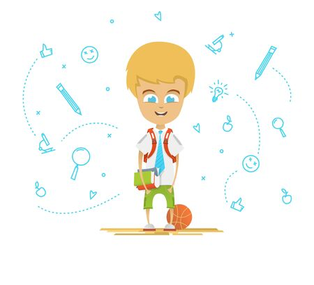 Character design. Happy schoolboy with a briefcase back to school. Icons on the background Illustration