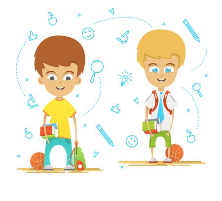 niños saliendo de la escuela: Diseño de personaje. Colegiales felices con un maletín de nuevo a la escuela. Vectores