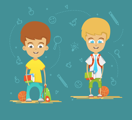 schoolboys: Character design. Happy schoolboys with a briefcase back to school. Icons on the blue background