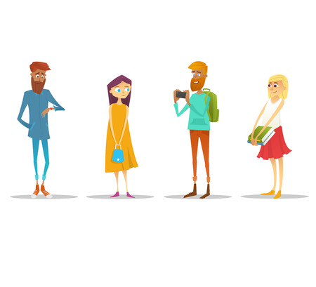 Set of students with gadgets and books. Character design. Vector illustration. Illustration