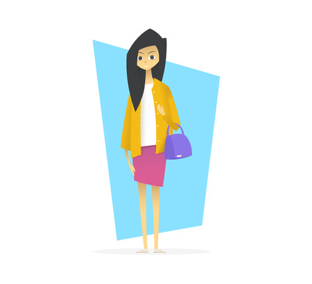 Young girl with handbag. Cartoon style vector illustration.