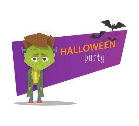 cartoon frankenstein: Halloween monster party banner. Frankenstein. Cartoon style vector illustration. Illustration