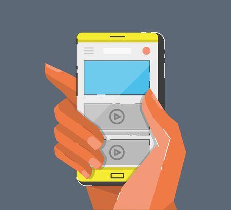 smartphone hand: Hand holing smartphone. Cartoon style vector illustration.
