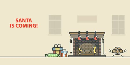 fireplace home: Christmas greeting card. Fireplace in home. Outline vector illustration.