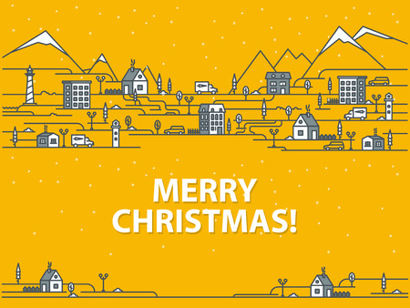 Merry Christmas greeting card with houses on a orange background. Outline vector illustration. Ilustração