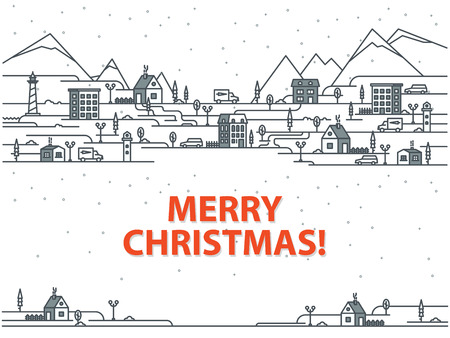 Merry Christmas greeting card with houses on a white background. Outline vector illustration.