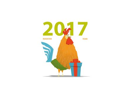 Rooster. New Year symbol. Cartoon vector style.