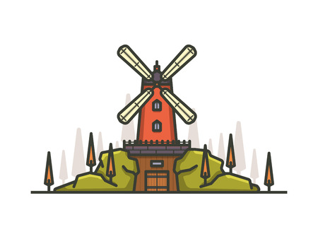 Colorful cartoon windmill. Outline style vector illustration.