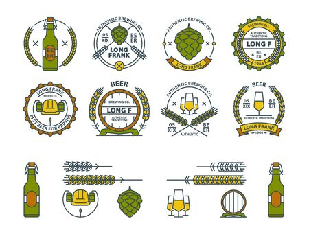 Outline vector beer emblems, symbols, icons, pub labels, badges collection. Beer Business signs template, logo brewery