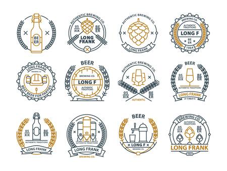 Outline vector beer emblems, symbols, pub labels, badges collection