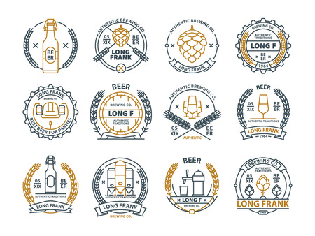 Outline vector beer emblems, symbols, pub labels, badges collection