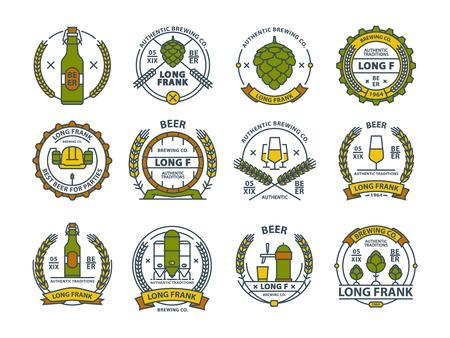 Outline colorful vector beer emblems, symbols, pub labels, badges collection