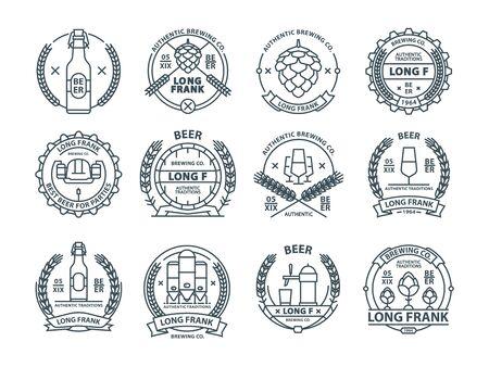 Outline colorless vector beer emblems, symbols, pub labels, badges collection