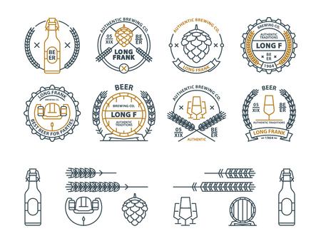 Outline vector beer emblems, symbols, icons, pub labels badges collection Vectores