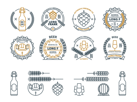 Outline vector beer emblems, symbols, icons, pub labels badges collection Ilustração