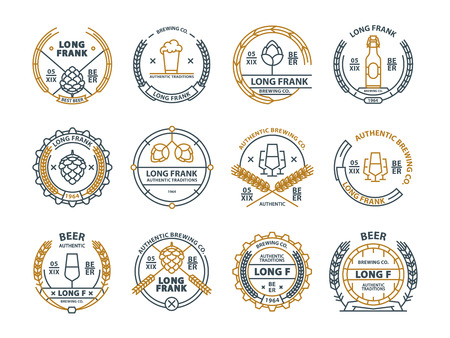 Outline vector beer emblems, symbols, icons, pub labels badges collection Imagens