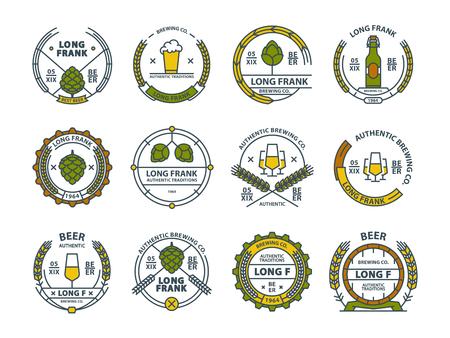 Outline colorful vector beer emblems, symbols, icons, pub labels, badges collection