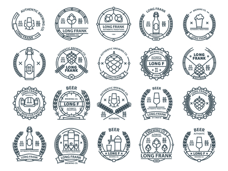 Outline colorless vector beer emblems, symbols, icons, pub labels, badges collection