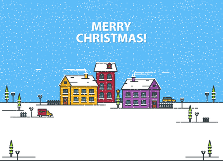 Merry Christmas greeting card with houses on a blue background. Outline vector illustration Ilustração