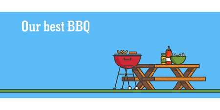 BBQ party. Horizontal banner. Outline colorful vector illustration