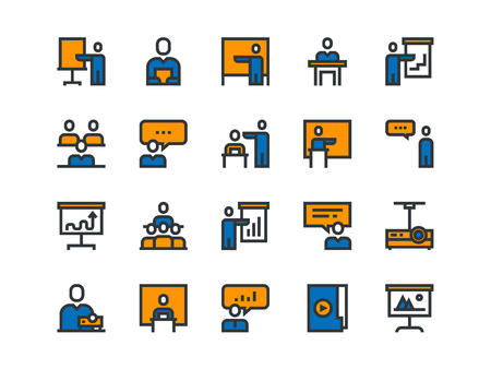 Business Presentation colorful icons. Vector outline set Vectores