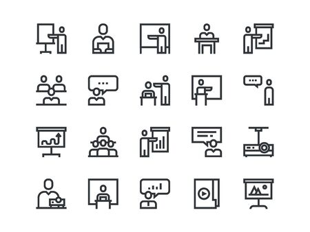 Business Presentation colorless icons. Vector outline set