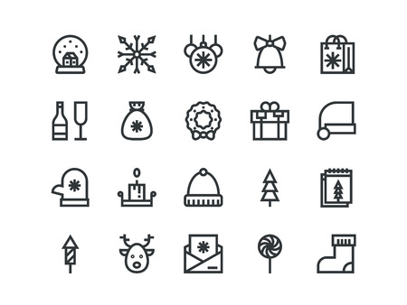 Christmas colorless outline icons on a white background. Vector set