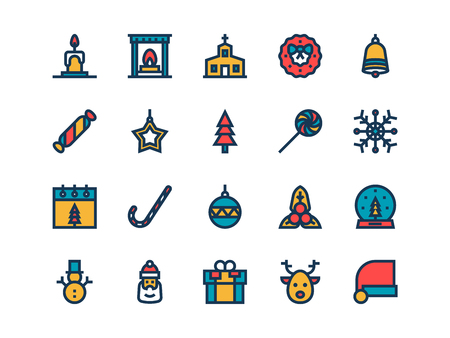 Christmas colorful outline icons on a white background. Vector set